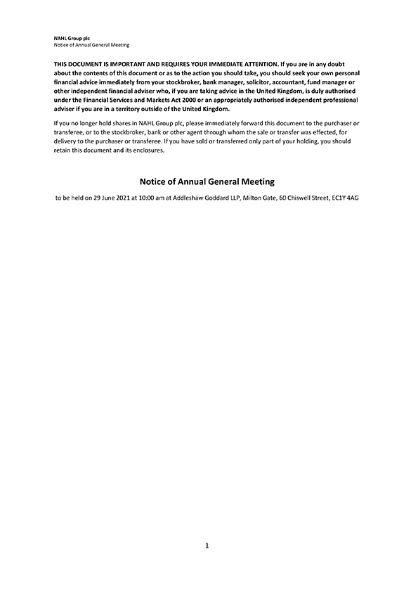Notice of Annual General Meeting 2021