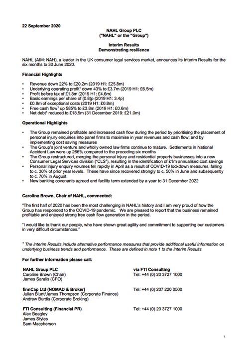 Interim RNS Statement September 2020